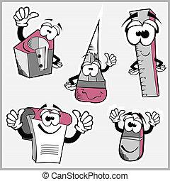 funny cartoon school objects