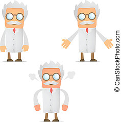funny cartoon scientist angry and frustrated - set of funny...