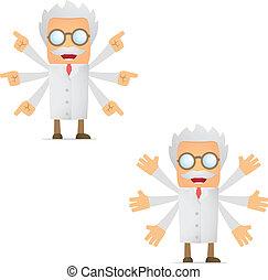 funny cartoon scientist makes a choice