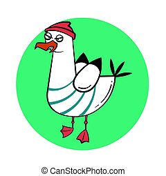 Funny cartoon seagull, Angry.