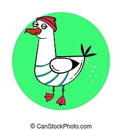 Funny cartoon seagull, craping.