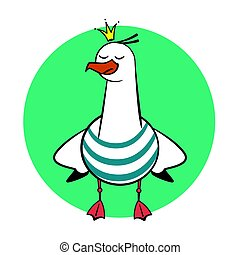 Funny cartoon seagull, Crowned.