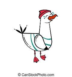 Funny cartoon seagull, Laughs.