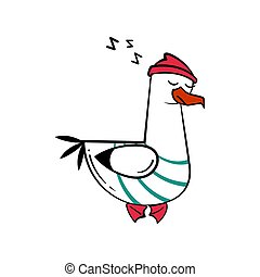 Funny cartoon seagull, sleep.