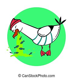 Funny cartoon seagull, spew. - Funny cartoon seagull, spew...