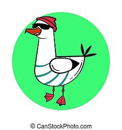 Funny cartoon seagull, steep. Thug life. - Funny cartoon...