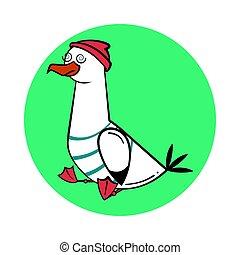 Funny cartoon seagull, stunned.