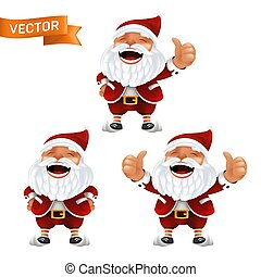 Funny cartoon set of the little Santa Claus mascots without eyeglasses in a red hat with thumbs up. Vector illustration of laughing characters with white beard isolated on a white background
