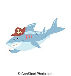 Funny cartoon shark pirate in a hat smoking pipe colorful character vector Illustration