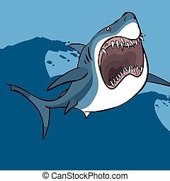 Funny cartoon shark. Vector illustration