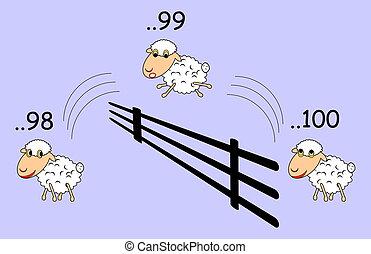Funny cartoon sheep jumping through the fence. Vector-art illustration