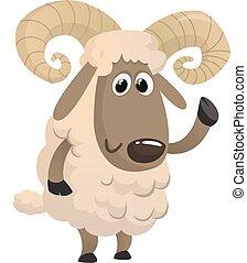 Funny cartoon sheep. Vector illustration of a fluffy lamb