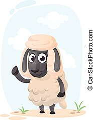 Funny cartoon sheep. Vector illustration