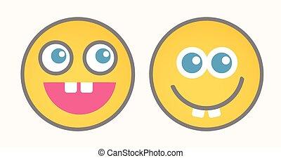 Funny Cartoon Smiley Set