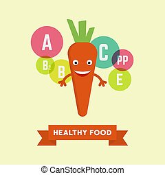 Funny cartoon smiling carrot vector illustration