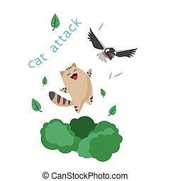 Funny cartoon smiling cat and black bird on white background vector illustration.