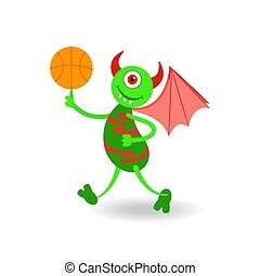 Funny cartoon smiling horned monster with ball