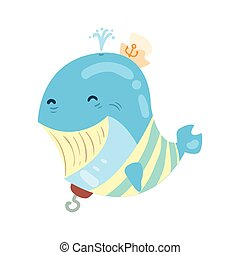 Funny cartoon smiling whale pirate colorful character vector Illustration