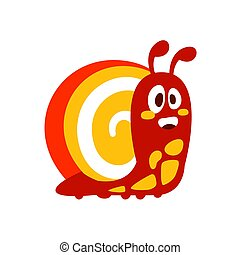 Funny cartoon snail colorful character vector Illustration