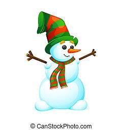 Funny, cartoon snowman in a hat.