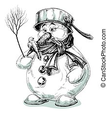 Funny cartoon snowman isolated drawing