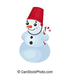 Funny Cartoon Snowman With Carrot Nose And Bright Red Bucket Holding Candy Stick In His Rounded Hand
