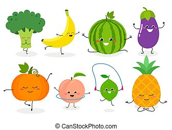 Funny cartoon sporty fruit and veggie characters