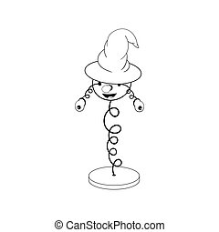 funny cartoon spring in a wizard's hat - with head, eyes and mouth, stands on a stand and two eyes fall off. Black and white coloring