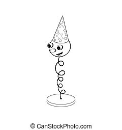 Funny cartoon spring on a stand - with eyes, mouth and head in a festive cap. Black and white coloring