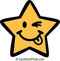 Funny cartoon star blinking