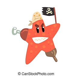 Funny cartoon starfish pirate holding black flag colorful...