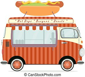 Funny cartoon street food truck