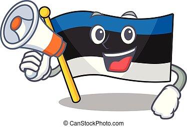 Funny cartoon style of flag estonia With megaphone