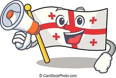 Funny cartoon style of flag georgia with megaphone