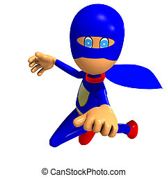 funny cartoon super hero. 3D rendering with clipping path ...