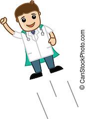 Funny Cartoon Super Hero Doctor