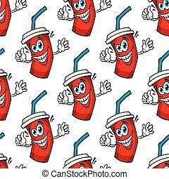 Funny cartoon takeaway soda seamless pattern
