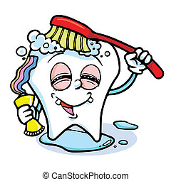 funny cartoon tooth - illustration of tooth character with...