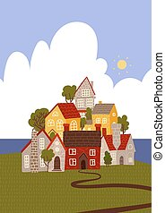 Funny Cartoon Town by the sea. Cozy houses and trees stacked. Flat vector illustration.