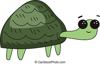 Funny cartoon turtle set on isolated white background viewed from side vector or color illustration