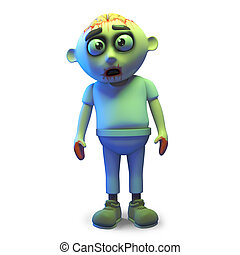 Funny cartoon undead zombie monster stands forlornly, 3d illustration render