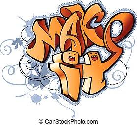 Funny cartoon urban graffiti style illustration with...