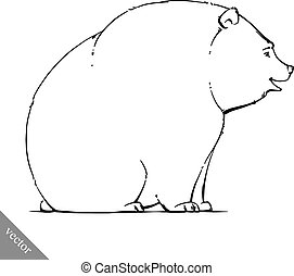 funny cartoon vector brown grizzly bear illustration