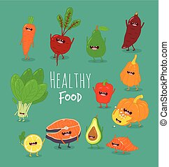 funny cartoon vegetable , healthy food