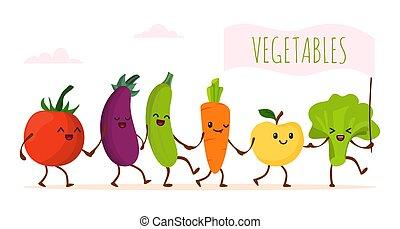 Funny cartoon vegetable walking, vector illustration. Happy healthy food character, cute green organic product. Fresh vegetarian
