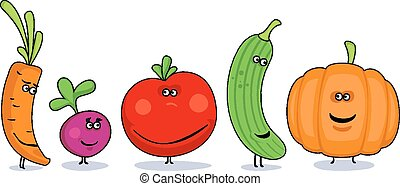 Funny cartoon vegetables symbols.