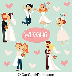 Funny cartoon wedding couple, bride and groom
