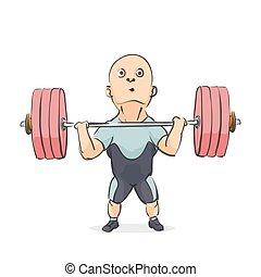 funny cartoon weightlifter