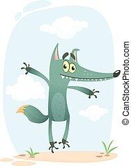 Funny cartoon wolf illustration