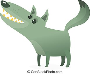 Funny cartoon wolf. Vector illustration